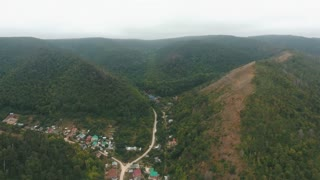 aerial view on a village in the hills