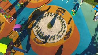 aerial view on Colorful children's playground in a yard