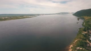 aerial view on river volga