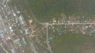 Aerial view village,forest, road