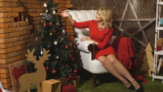 beautiful blond at a Christmas photo shoot