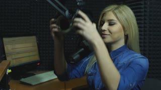 Beautiful Radio DJ in studio