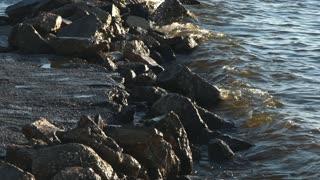 Breaking waves on rocks