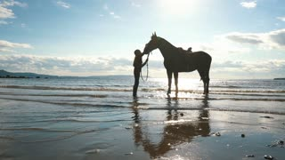 girl petting her horse on the beach