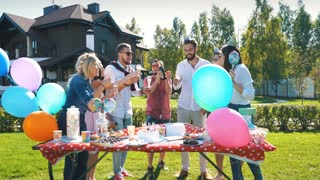 Group of people cheering with glasses of champagne- Happy young friends enjoying picnic in a park with food . Youth concept