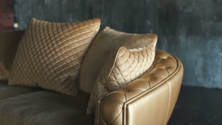 natural luxury gold leather sofa with rhombs