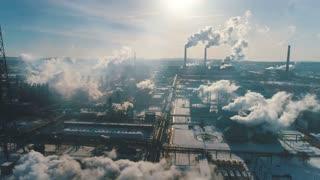 Smoky factory chimneys.