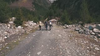 the group of travelers walking along a mountain road