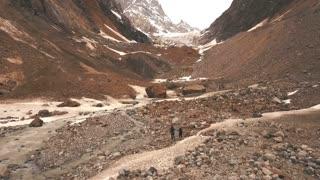 The source of mountain river Adishi near the big glacier Chalaadi in Mestia town, Svaneti region, Georgia