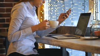 Young beautiful woman working in coffee shop , using smartphone and drinking coffe