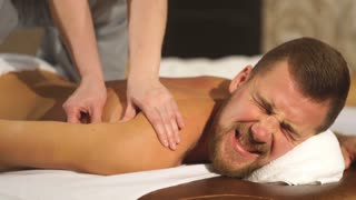 young man relaxing back massage
