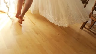 Beautiful legs of young bride