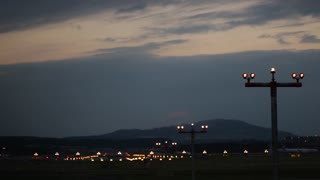 Big airplane plane landing in airport