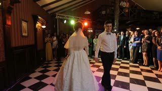 Bride and groom at wedding dance