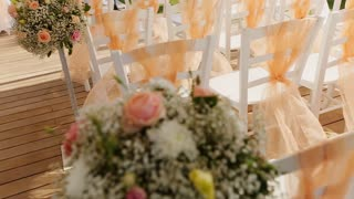 chairs in a wedding tent