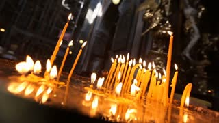 Church candles burn in the Church - the prayerful request before the Lord and a symbol of the prayers of a believer. The candle flame in the Church is the image of eternal Light.
