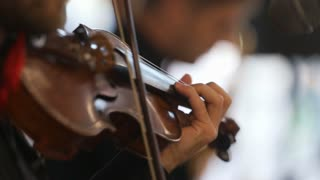 Close-up of musician playing violin, classic music,