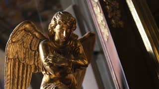 Gold color angel statue Symbol of freedom.