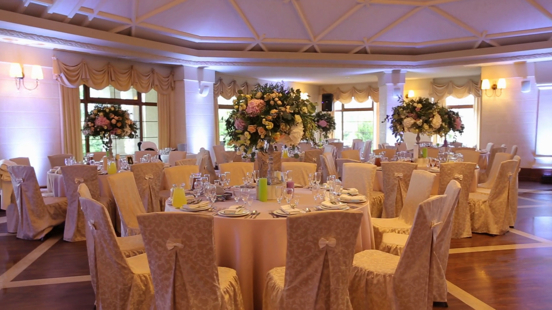 Interior of a wedding hall decoration ready for guests ...