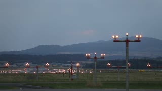 landing plane in airport