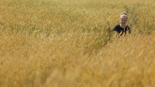 Little girl running at the wheat field