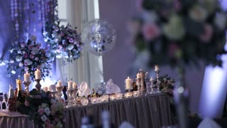 Scenery. Feathers, candles, flowers