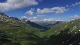 Aerial breathtaking mountains view of the Swiss Alps from above