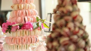 Close up dolly shot of hill from pink and purple macaroon on the wedding candy bar.
