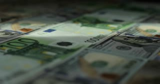 Euro, US dollar, international paper money. Main word currency US Dollar and Euro, Swiss Frank bank notes rotating concept business background, loop ready