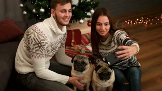 Happy young couple in love smiling and making selfie with couple of pug dog near the Christmas tree. Top view.