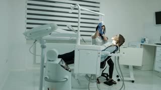 Health and dental care. Patient waiting in dentist's chair for dental check up