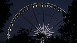 View of a ferris wheel at night. Budapest eye