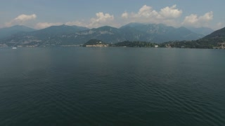 View of the bay and mountains at the background. Lake Como, Italy