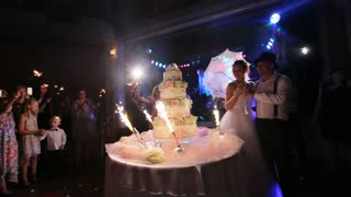 Wedding cake with burning fireworks
