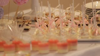 wedding table with sweets and cakes, pastries sweets