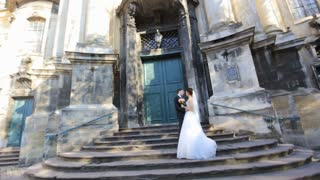 beautiful young couple bride and groom standing shot in slow motion  close up