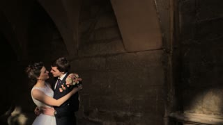 Bride and groom in love looking at each other  shot in slow motion  close up