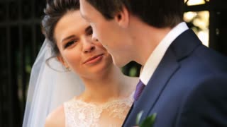 caucasian happy romantic young couple celebrating their marriage shot in slow motion  close up