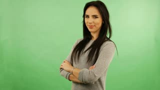 caucasian woman isolated on chroma green screen chroma key background