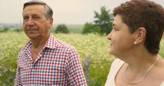 Charming senior couple walking holding hands and looking at each other in summer countryside