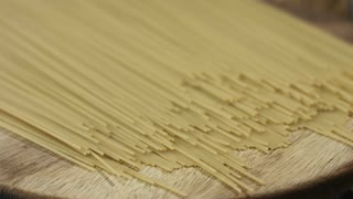 Circle around uncooked pasta closeup
