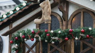 Classic christmas decorations at cozy wooden country house, outdoor
