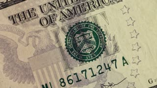 Close up of 5 dollar note, USD panning
