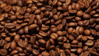 Coffee bean background. Sliding camera