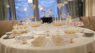 Delicious sweet desserts prepared in a good restaurant for wedding party