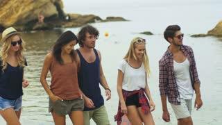Five friends walking on beach.