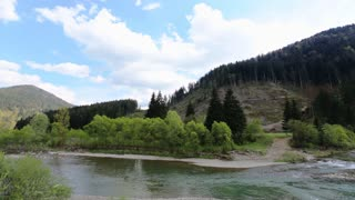 Flow mountain river in rocky shores covered with greenery, beautiful summer mountains landscape