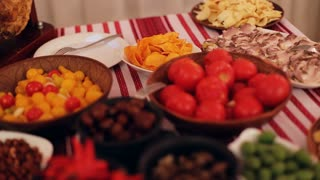 Fresh tasty dishes of traditional ukrainian food prepared for a dinner of few people.