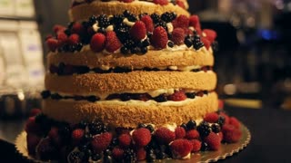 Gourmet tiered wedding cake decorated with berries at wedding reception.