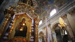 Image of a Saint, Church Lamp at It, Frescoes and Icons, close-up